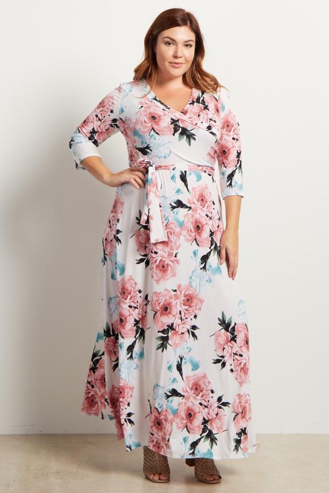 White Floral Sash Tie Maternity/Nursing Plus Maxi Dress