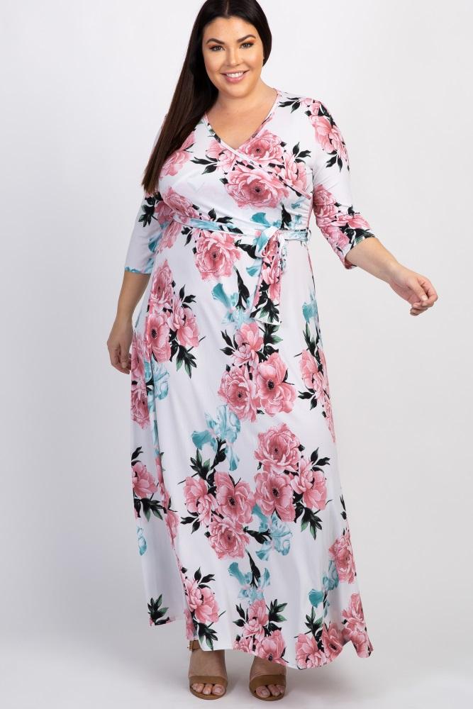 0af302f3429 White Floral Sash Tie Plus Maxi Dress