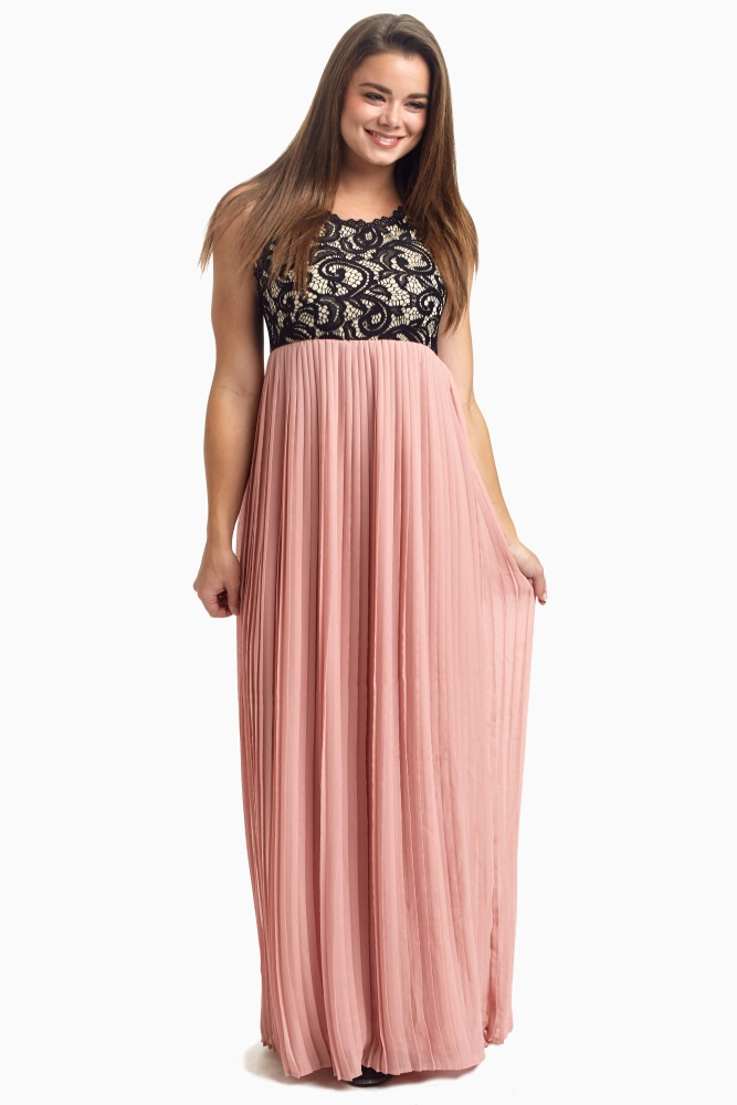 fe06545d4437 Mauve Pleated Chiffon Lace Top Maternity Maxi Dress