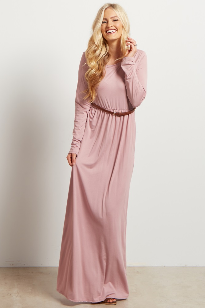 1977cb0fdc8b Pink Long Sleeve Belted Maternity Maxi Dress