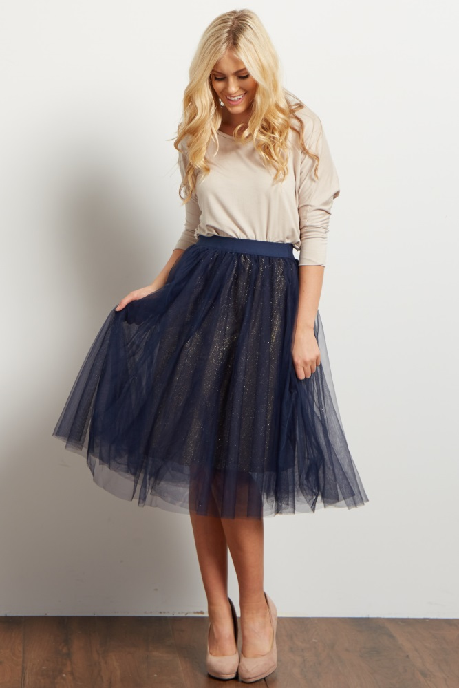 distinctive style retro fast color Navy Blue Tulle Mesh Gold Sparkle Underlay Midi Maternity Skirt