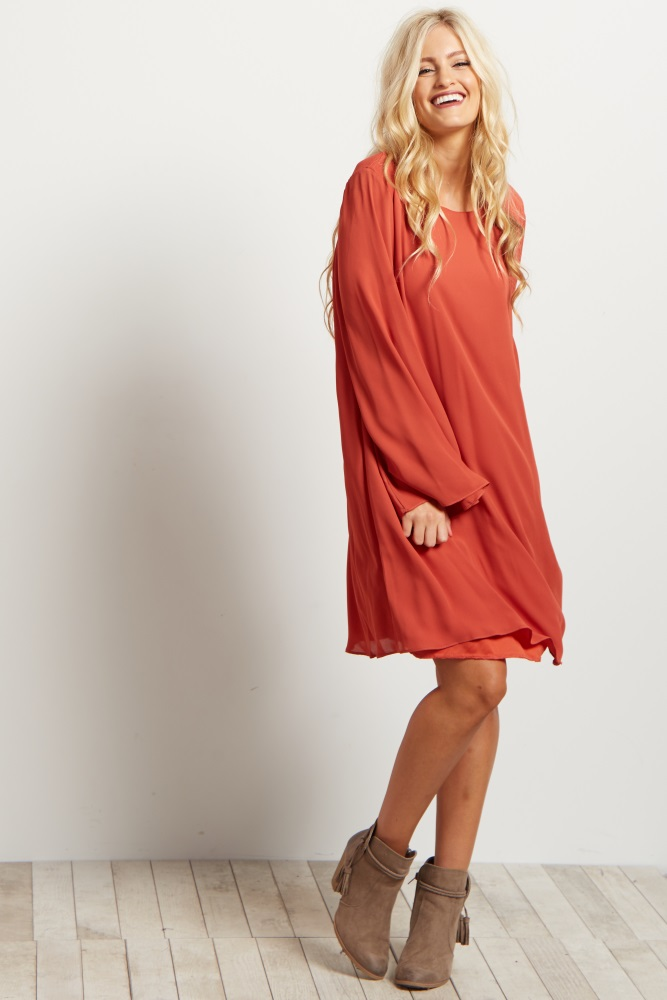406c4c0383d92 Type something above to find products. Orange Chiffon Bell Sleeve Dress