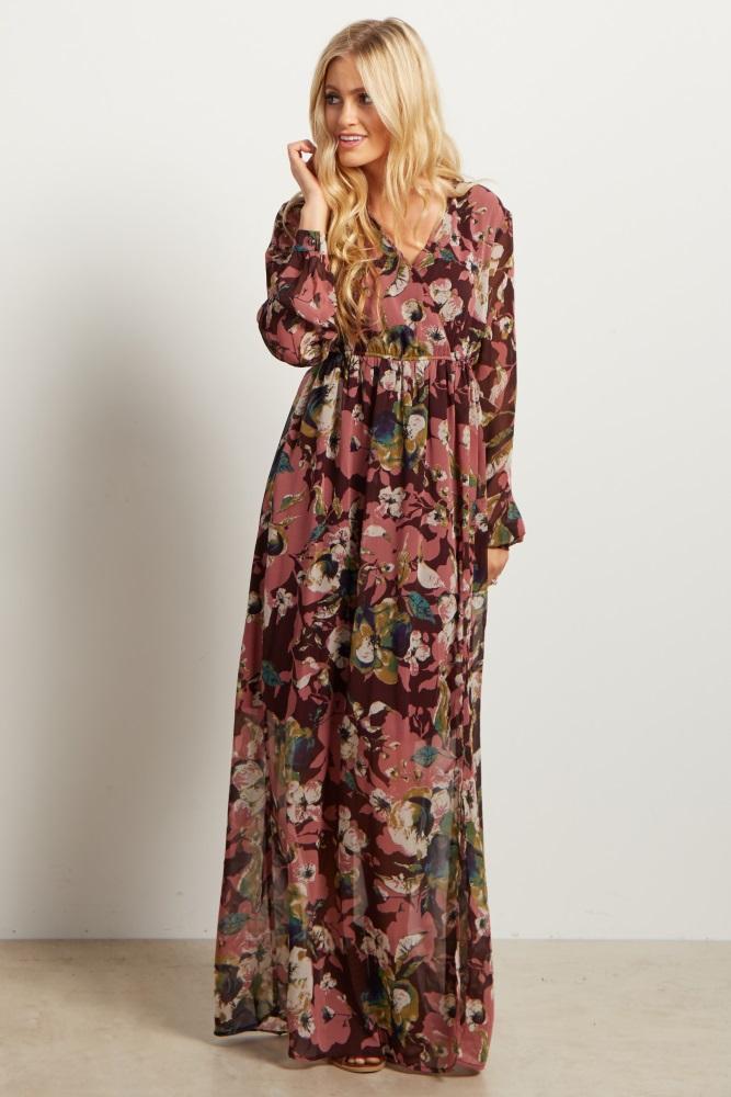 5c12546bdfc Burgundy Floral Print Chiffon Maternity Maxi Dress