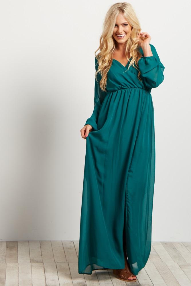 7ac86364fa115 Green Chiffon Maternity Maxi Dress