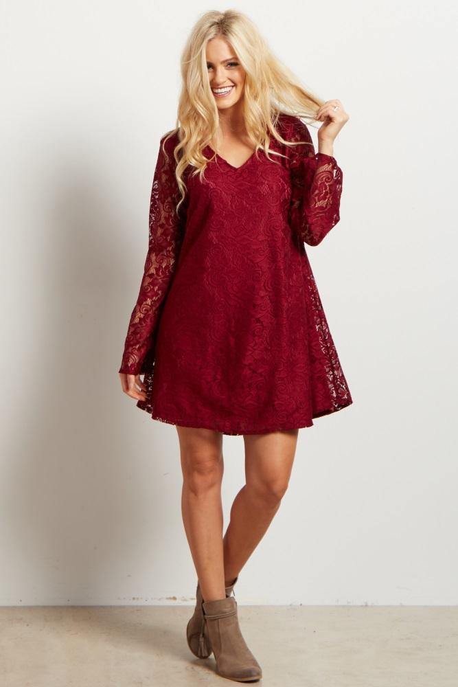 018688817ac Burgundy Lace Bell Sleeve Maternity Dress Tunic