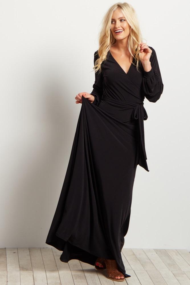 d93824378 Black Solid Sash Tie Long Sleeve Wrap Maternity Maxi Dress