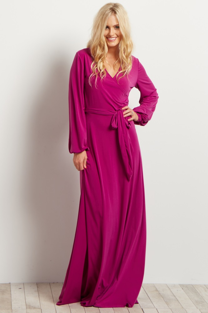 09590d5482 Magenta Solid Sash Tie Long Sleeve Wrap Maternity Maxi Dress