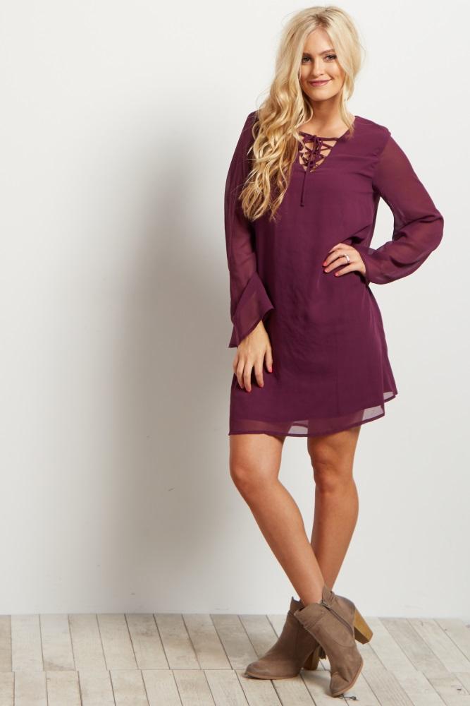 b1621971eea Purple Chiffon Lace Up Bell Sleeve Maternity Dress