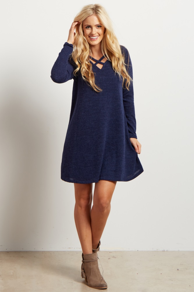 7c6937c8d26 Navy Blue Solid Cutout Maternity Sweater Dress