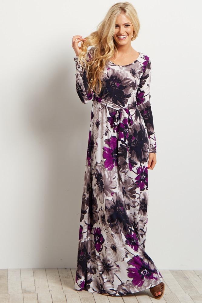 9ce2b80e3 Purple Floral Sash Tie Long Sleeve Maternity Maxi Dress