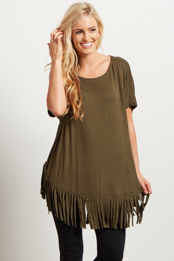 4c5c33d307e Olive Green Fringe Trim Short Sleeve Maternity Top