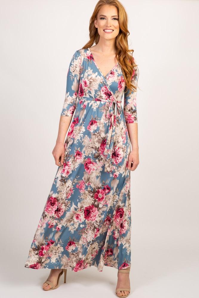 af32811147 Light Blue Floral Sash Tie Maternity/Nursing Maxi Dress