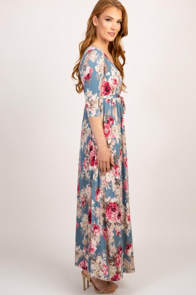 e8baa57238a Light Blue Floral Sash Tie Maternity Nursing Maxi Dress
