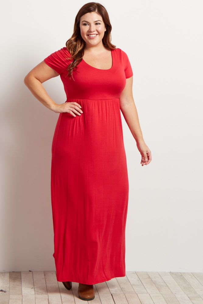 Short Sleeve Plus Size Maxi Dresses