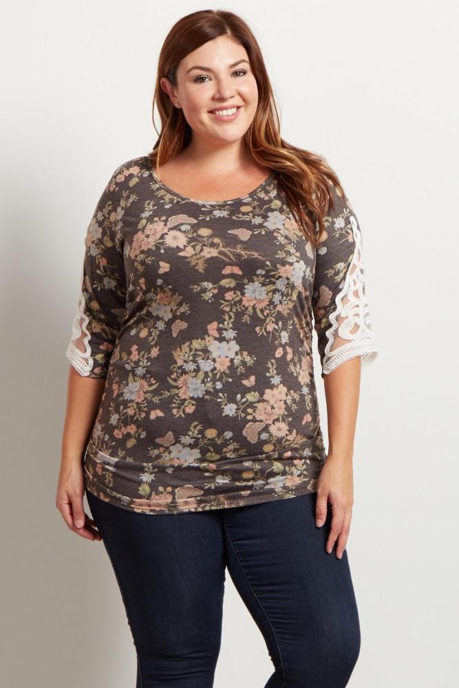 3f1808d9b1244 Charcoal Floral Crochet Sleeve Maternity Plus Top