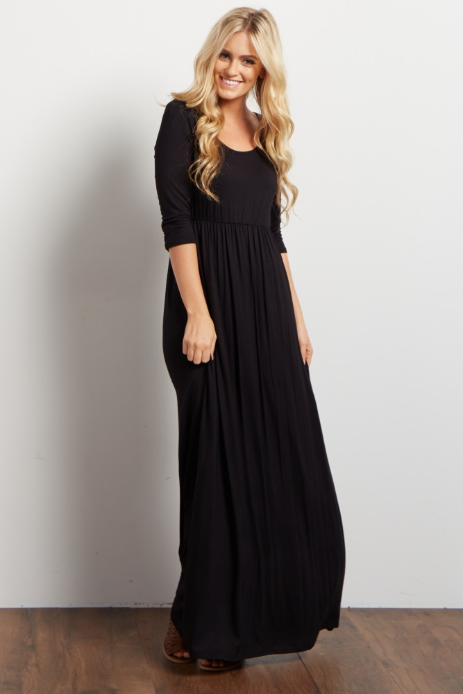 0b5356d434 Black 3 4 Sleeve Maternity Maxi Dress