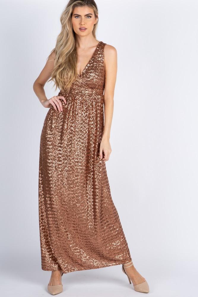 02d588162b Gold Sequin V Neck Sleeveless Maternity Evening Gown
