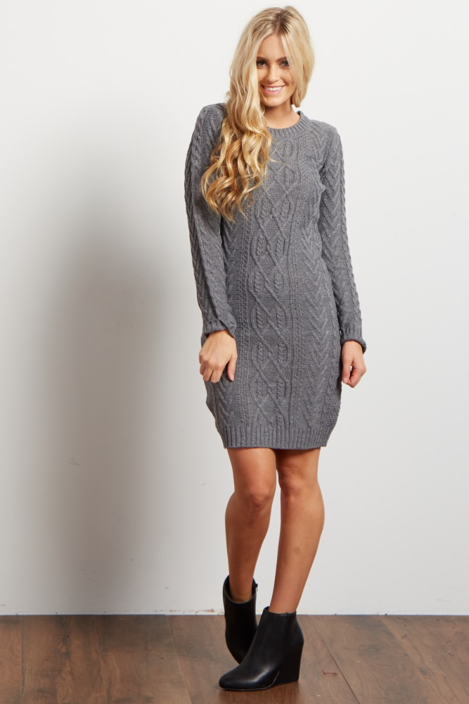 9716da67494 Grey Cable Knit Long Sleeve Maternity Sweater Dress
