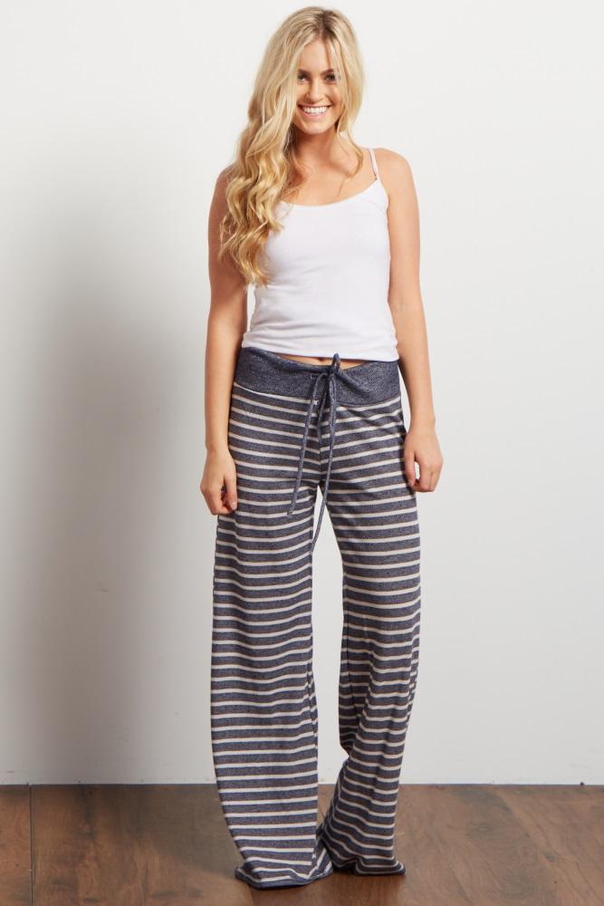 c5d5575c32ff7 Navy Blue Striped Drawstring Maternity Pajama Pants