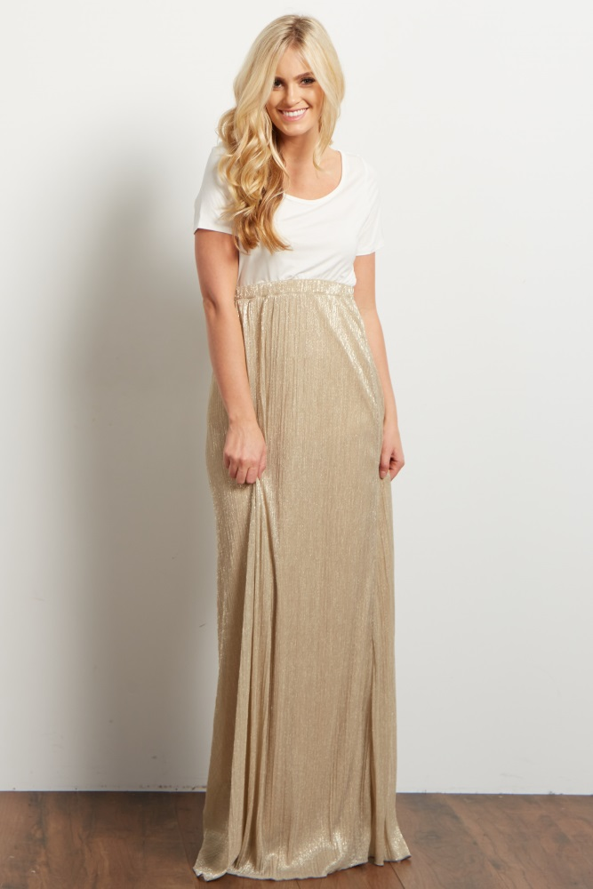 8387d2cf46d92 Gold Shimmer Textured Maternity Maxi Skirt