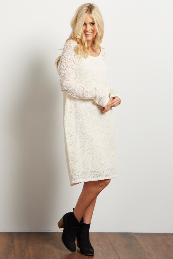 ba18acc2b91d4 Ivory Lace Rosette Overlay Fitted Maternity Dress