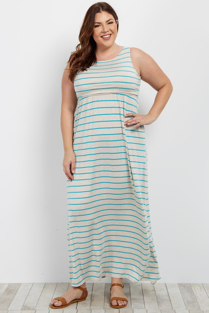 Striped sleeveless plus maxi dress. Rounded neckline. Top double lined to prevent sheerness.
