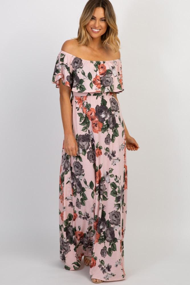 a0bd2a8e9b51 Light Pink Rose Off Shoulder Maternity Maxi Dress