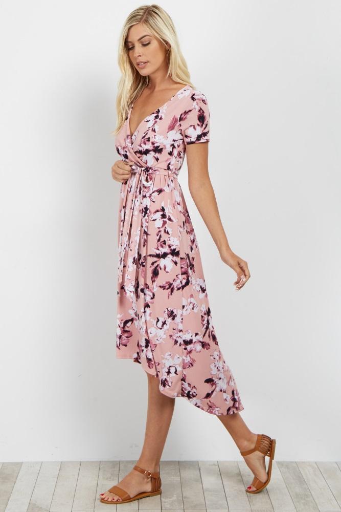 8b0ad32751f9f Light Pink Floral Hi Low Maternity/Nursing Wrap Dress