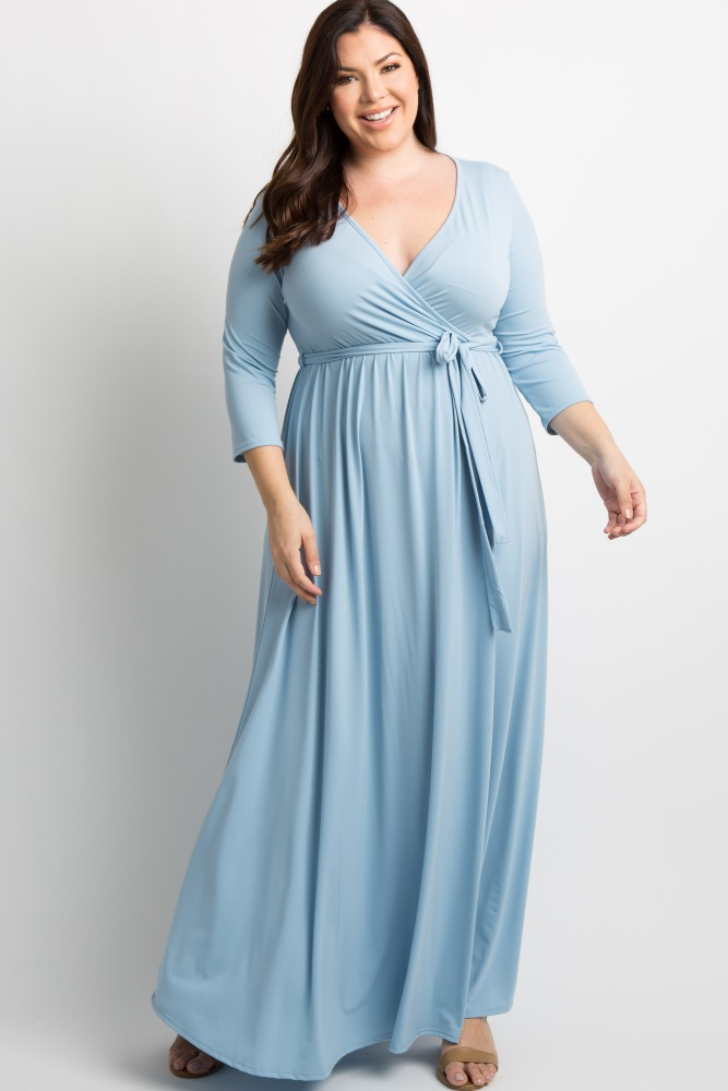 9fcce495115 Light Blue Draped 3 4 Sleeve Plus Maternity Maxi Dress