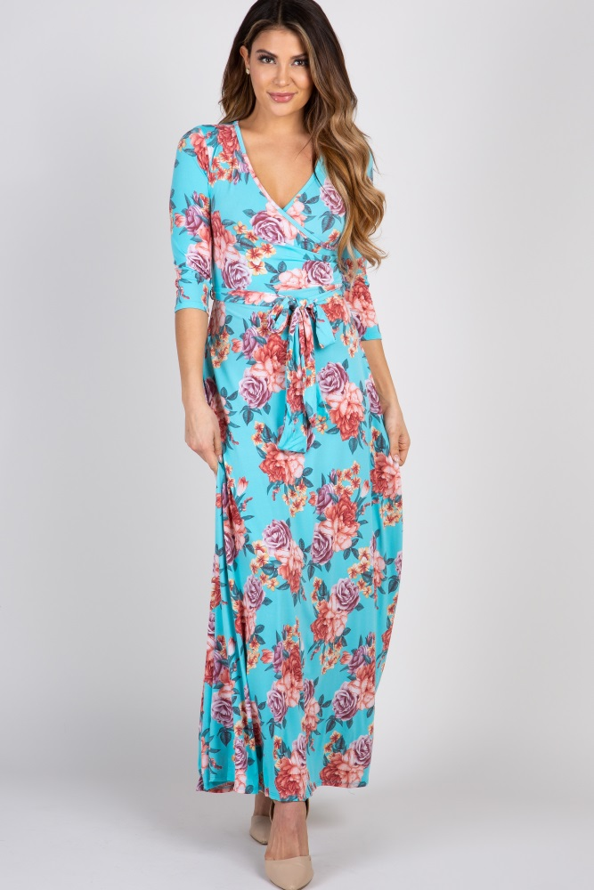 dcbe297614635 Aqua Rose Maternity/Nursing Maxi Wrap Dress