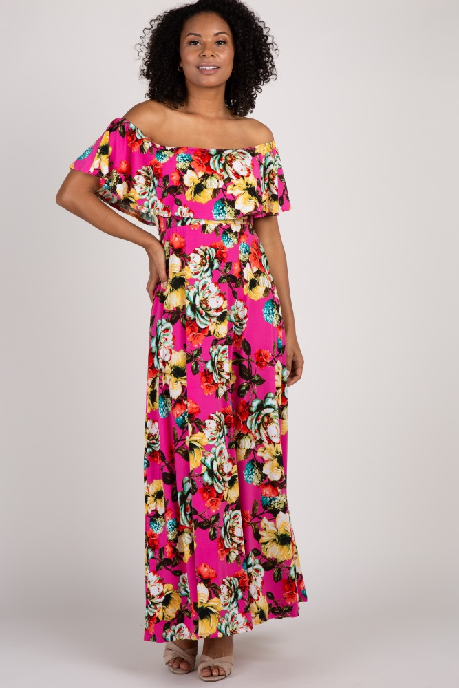 9767f78390989 Fuchsia Floral Off Shoulder Maternity Maxi Dress