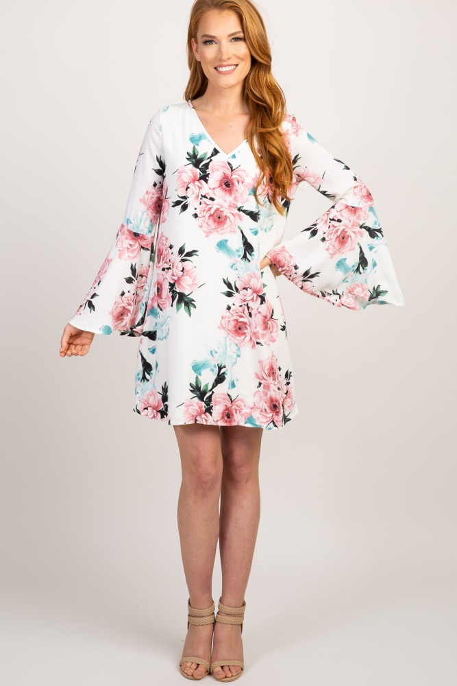 04e8eeab7d Ivory Floral Chiffon Bell Sleeve Maternity Dress