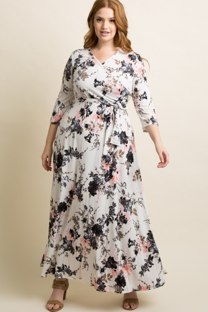 White Floral Plus Maternity/Nursing Maxi Wrap Dress