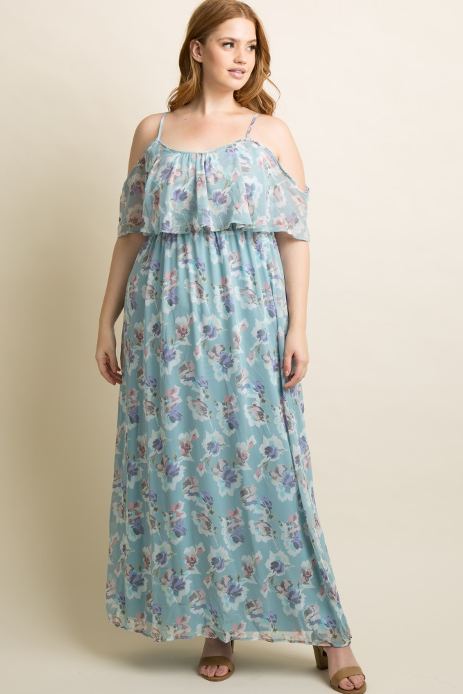 259f9807e3091 Light Blue Floral Cold Shoulder Plus Maternity Maxi Dress