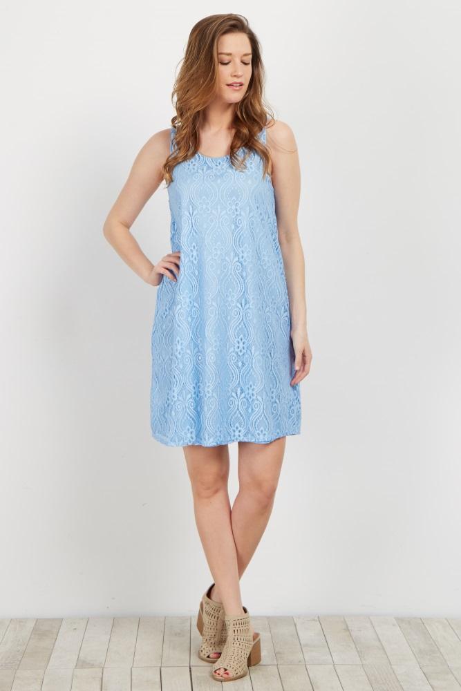 129a390c536b Light Blue Lace Maternity Dress