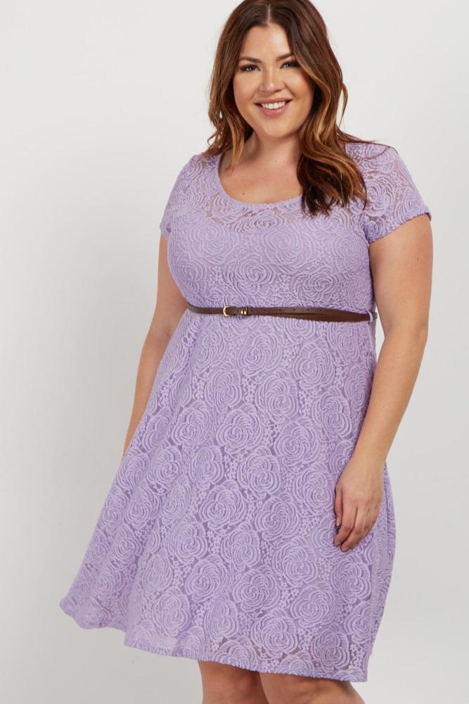 4c4dda0028 Lavender Lace Belted Plus Maternity Dress