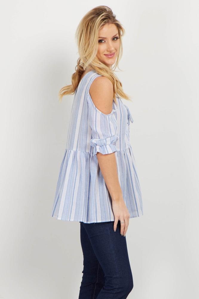 7624da36e43 Blue Striped Cold Shoulder Lace Up Top