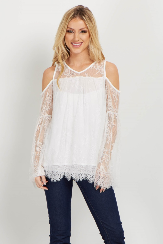 7c456badf Ivory Lace Cold Shoulder Top