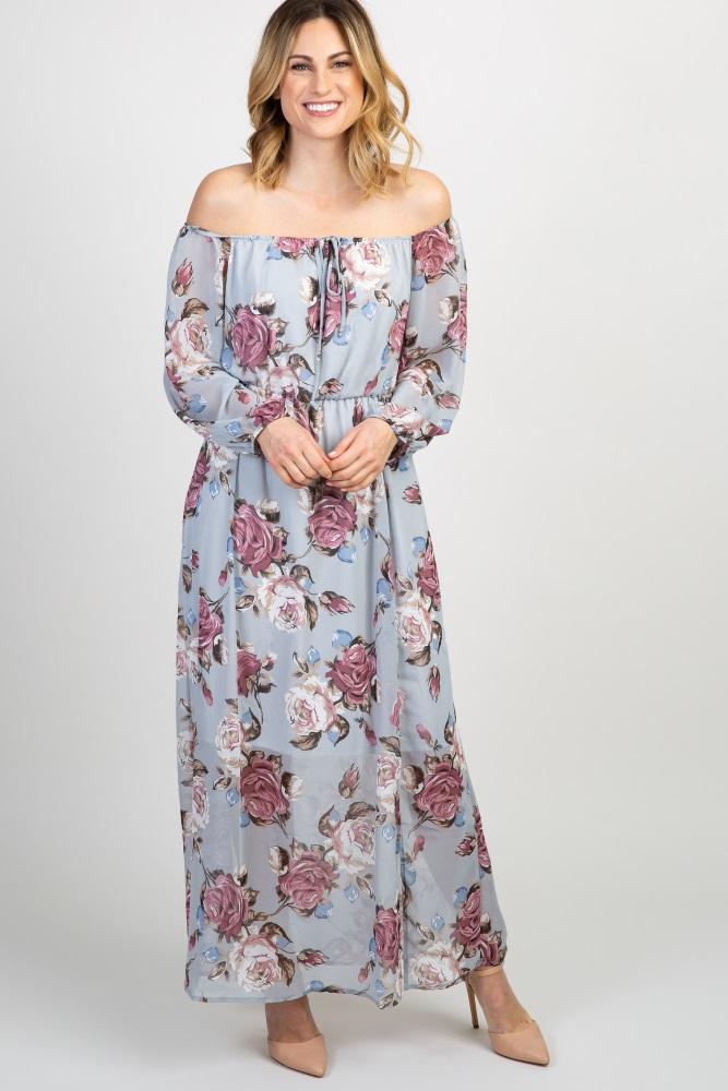 68cfde2da89eb Grey Floral Off Shoulder Maternity Maxi Dress