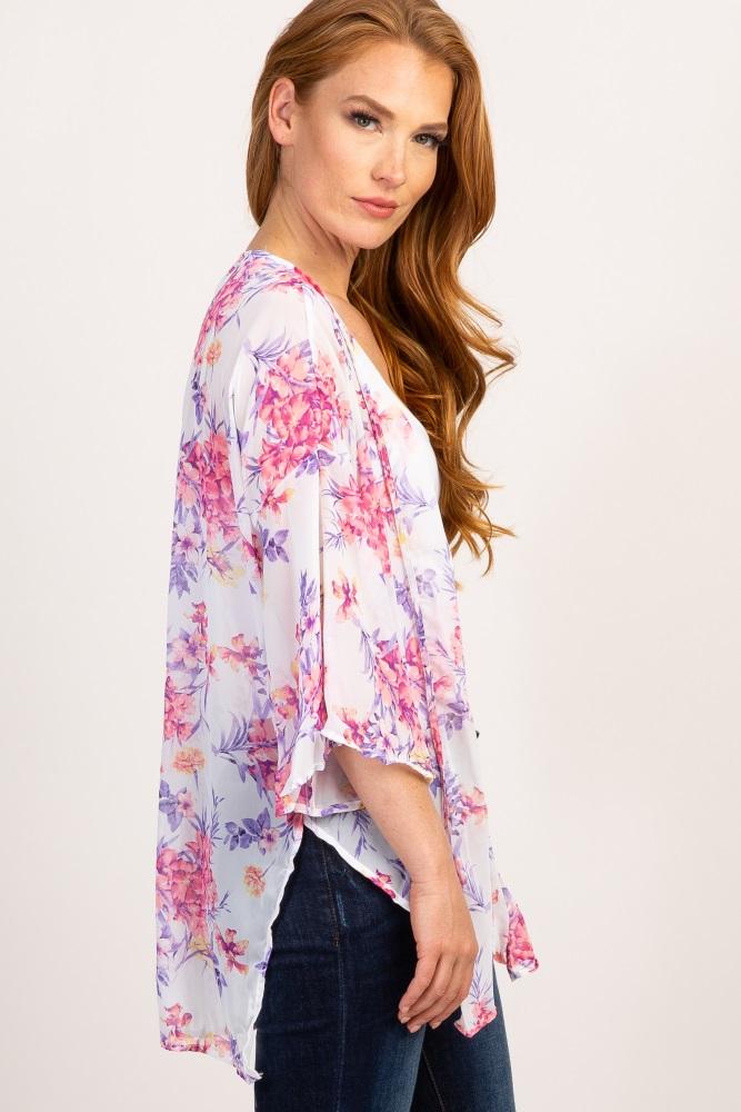 3e67dd209ba Ivory Floral Chiffon Maternity Kimono