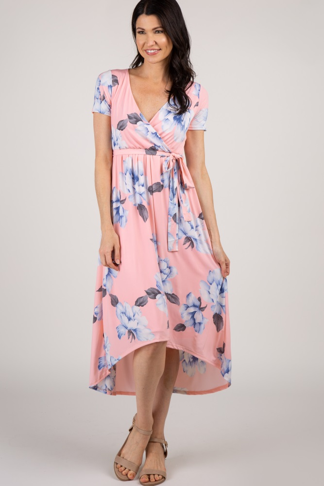 c79afb20f0a98 Pink Floral Hi Low Maternity Wrap Dress