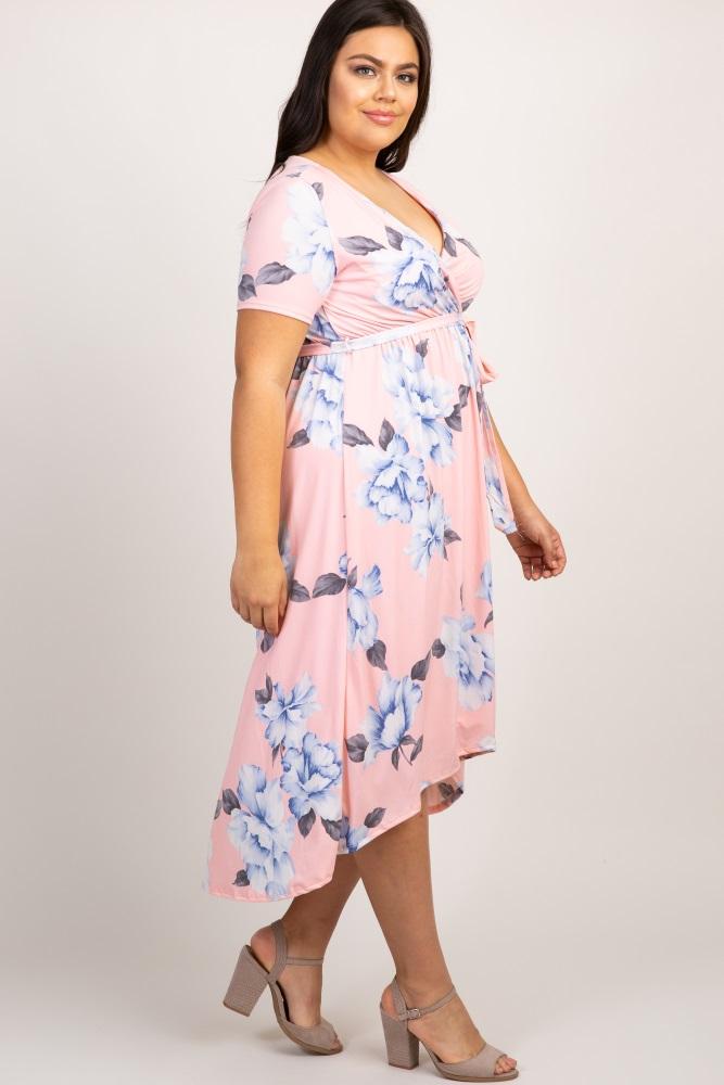 a42a26cbfa8fb Pink Floral Hi Low Plus Maternity Wrap Dress