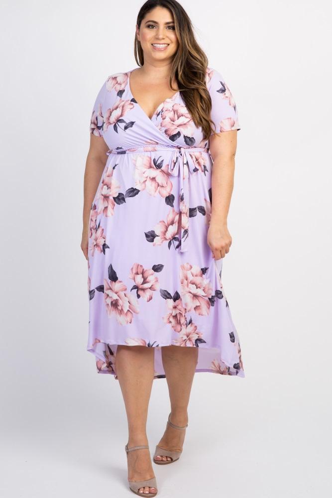 Lavender Floral Hi-Low Plus Wrap Dress