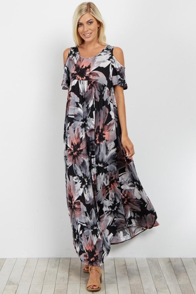 70847d7489e Black Floral Cold Shoulder Maternity Maxi Dress