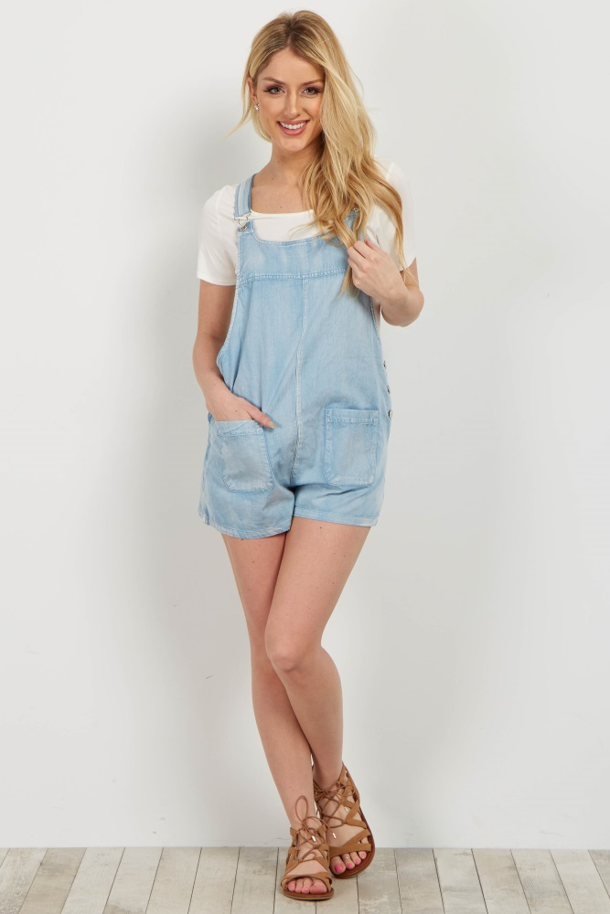 63639e8696f58 Light Blue Denim Maternity Overall Shorts