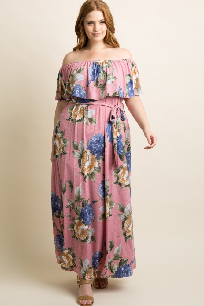 Pink Floral Off Shoulder Sash Tie Plus Maternity Maxi Dress