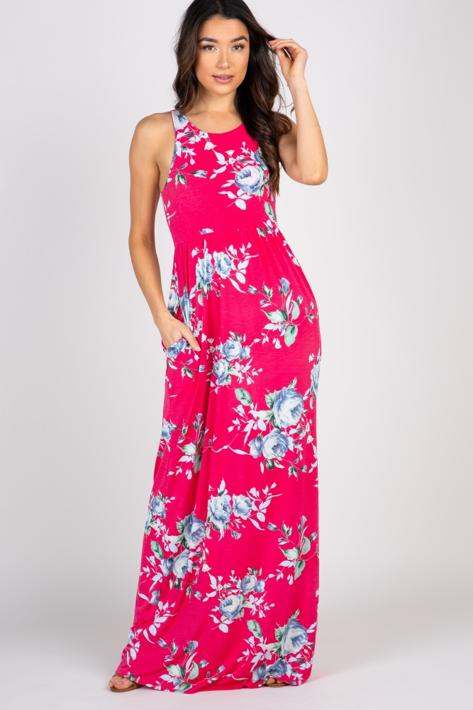 8a82dc51a2b Magenta Floral Sleeveless Maternity Maxi Dress