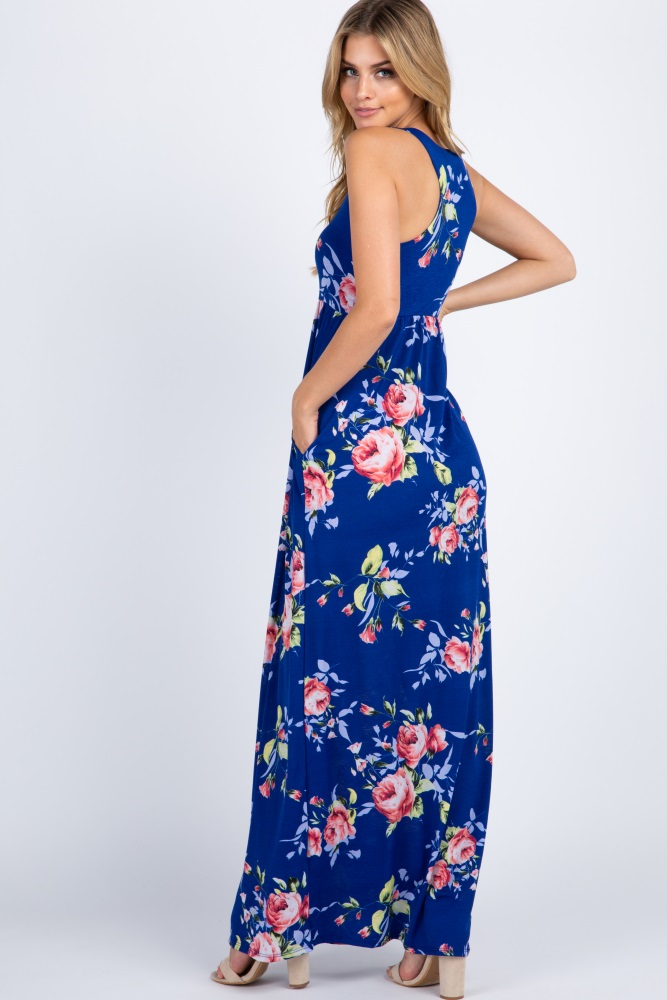 1f706137a4302 Royal Floral Sleeveless Maternity Maxi Dress