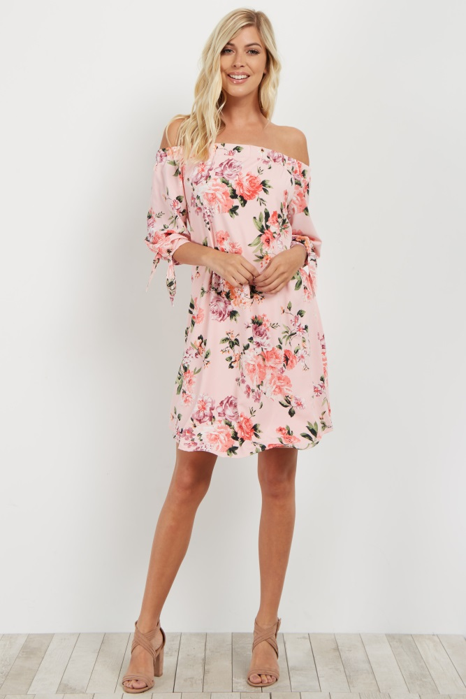7abf2b353c9f7 Pink Floral Off Shoulder Maternity Dress