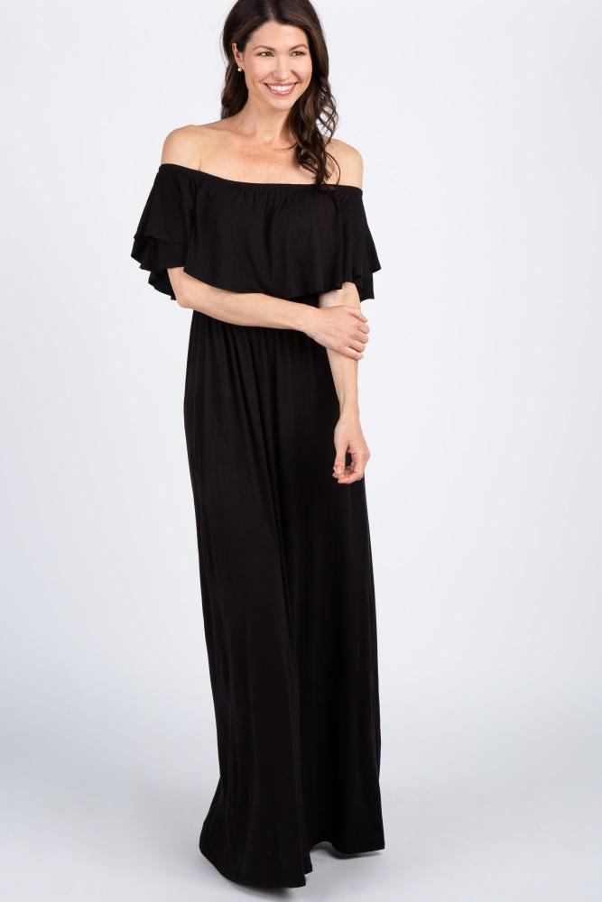 695785b49385 Black Off Shoulder Ruffle Trim Maternity Maxi Dress